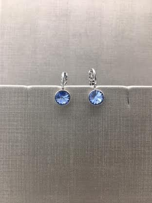 Forever Crystals Silver Petite Huggie Light Blue Sapphire Earrings
