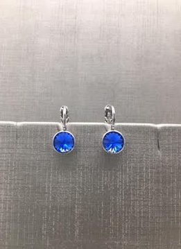Forever Crystals Silver Petite Huggie Blue Sapphire Earrings