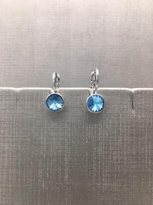 Forever Crystals Silver Petite Huggie Aquamarine Earrings