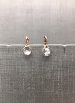 Forever Crystals Rose Gold Petite Huggie Clear Crystal Earrings