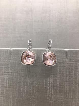 Forever Crystals Silver Cushion Cut Huggie Vintage Rose Earrings