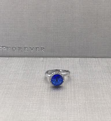 Forever Crystals Blue Sapphire Halo Ring