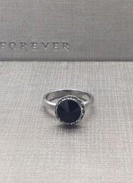 Forever Crystals Jet Black Halo Ring