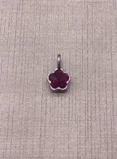 Forever Crystal Silver Fuschia Fancy Flower Charm