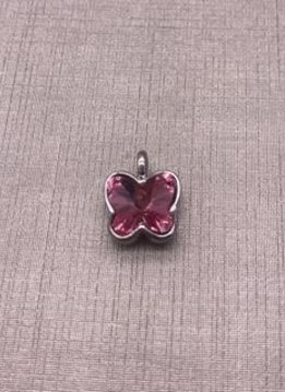 Forever Crystal Light Rose Butterfly Charm