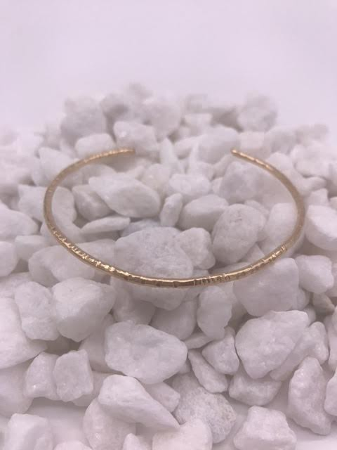 14K Gold Filled Hammered Bangle
