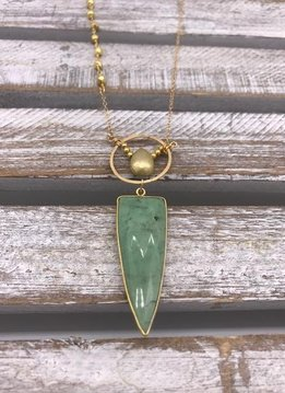 Green Chrysoprase Pendant on Gold Necklace