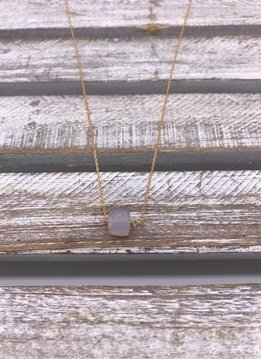 Pink Chalcedony Square Gold Necklace