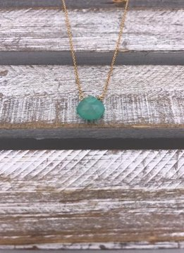 Aqua Chalcedony Tear Drop Gold Necklace