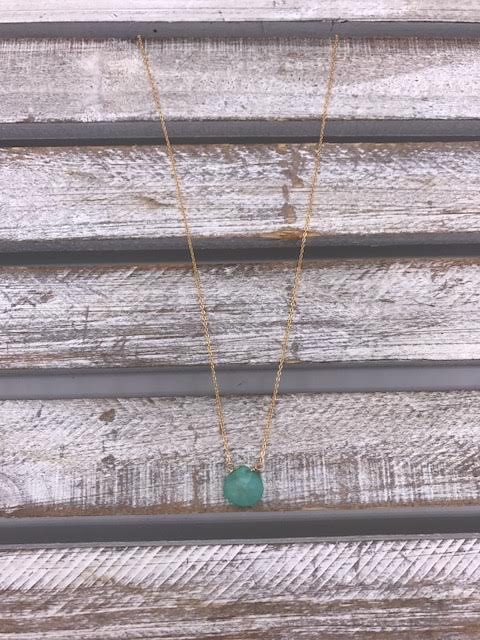 Aqua Chalcedony Tear Drop Gold Necklace