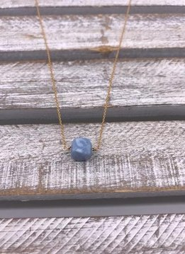 Blue Peruvian Square Gold Necklace