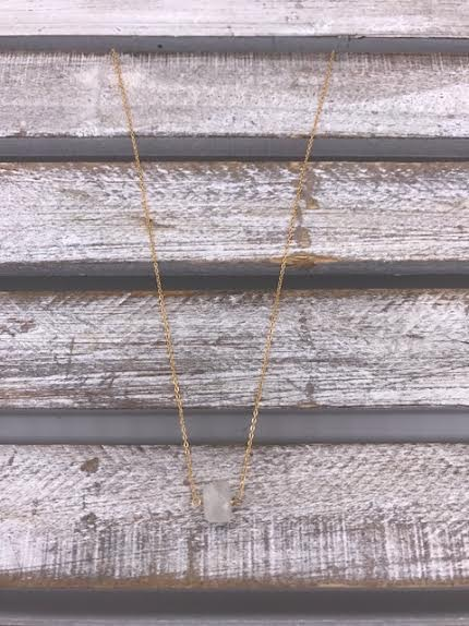 Rainbow Moonstone Square Gold Necklace