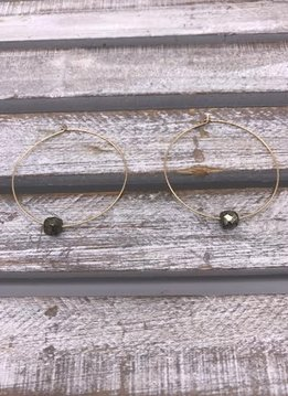 Gold Hoop Earrings with Pyrite Squares