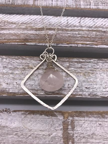 Sterling Silver Necklace with Pink Quarts Square Pendant