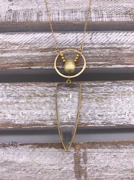 Crystal Quartz Pendant on Gold Necklace