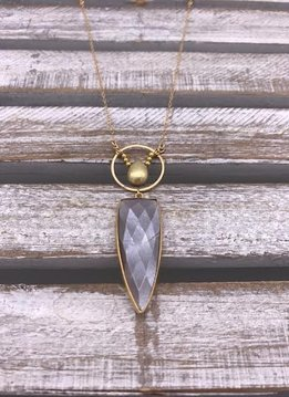 Chocolate Moonstone Pendant on Gold Necklace