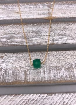 Green Onyx Square Gold Necklace