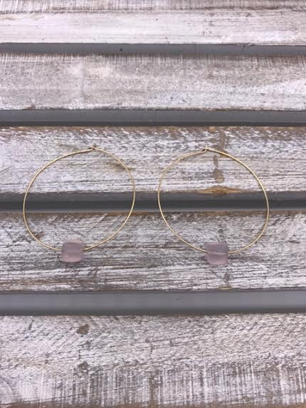 Gold Hoop Earrings with Pink Chalcedony Squares