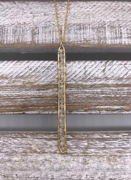 Gold Filled Moonstone Vertical Bar Necklace