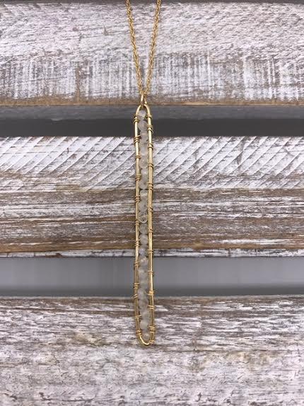 Gold Filled Moonstone Vertical Bar Necklace