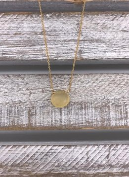 Yellow Chalcedony Tear Drop Gold Necklace