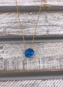Blue Chalcedony Two Way Tear Drop Gold Necklace