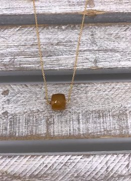 Dark Yellow Chalcedony Square Gold Necklace