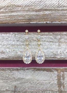 Cubic Zirconia Gold Tear Drop Dangle Earrings