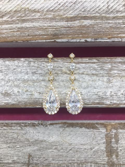 Cubic Zirconia Gold Tear Drop Dangle Earrings