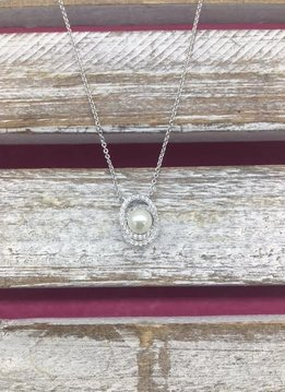 Silver Necklace with Cubic Zirconia Circles and Pearl Pendant