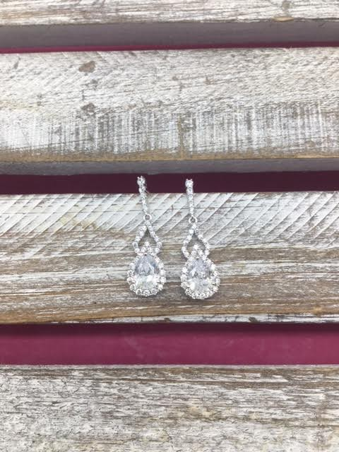 Sterling Silver Earrings with Dangling Tear Drop Cubic Zirconia Stone
