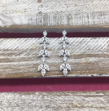 Cubic Zirconia Silver Dangling Leaf Earrings