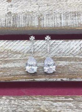 Cubic Zirconia Silver Dangle Simple Tear Drop Earrings