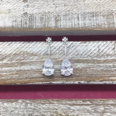 Cubic Zirconia Silver Dangle Simple Tear Drop Earrings