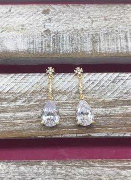 Cubic Zirconia Gold Dangle Simple Tear Drop Earrings