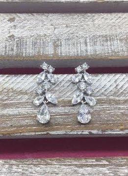 Cubic Zirconia Silver Mutli Shaped Cluster Dangle Earrings