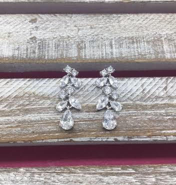 Cubic Zirconia Silver Mutli Shaped Cluster Dangle Earrings