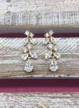 Cubic Zirconia Gold Mutli Shaped Cluster Dangle Earrings