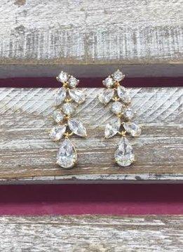 Cubic Zirconia Gold Mutli Shaped Cluster Dangle Earrings