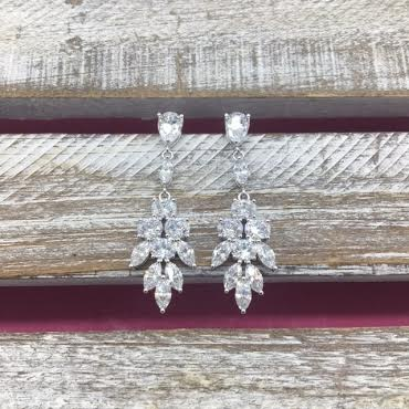 Cubic Zirconia Silver Dangle Feathered Earrings