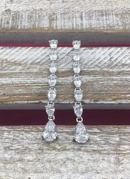 Cubic Zirconia Silver Long Dangle Earrings