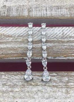 Cubic Zirconia Silver Long Dangle Earrings