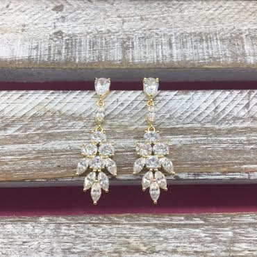 Cubic Zirconia Gold Dangle Feathered Earrings