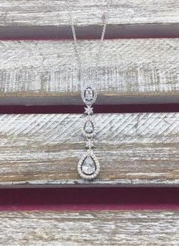 Cubic Zirconia Silver Three Tier Tear Drop Necklace