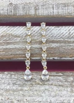 Cubic Zirconia Gold Long Dangle Earrings