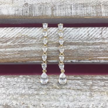 Cubic Zirconia Gold Long Dangle Earrings