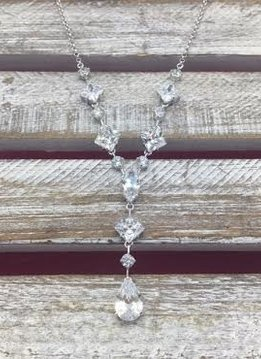 Large Cubic Zirconia Dangle Silver Necklace