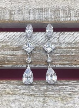 Large Cubic Zirconia Dangle Silver Earrings