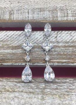 Large Cubic Zirconia Dangle Silver Earrings