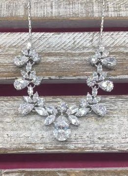 Cubic Zirconia Tear Drop and Marquise Necklace